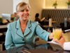 Female customer in Admirals Club bar