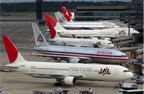 American Airlines and Japan Airlines at Narita Airport