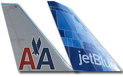 American Airlines and Jetblue Aircraft Tails