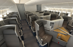New 777-300ER - The Business Class cabin be outfitted with fully lie flat seats – all with aisle access