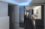 New 777-300ER Premium Class Cabin - Unique mood lighting and a dramatic archway and ceiling treatment create a feeling of spaciousness