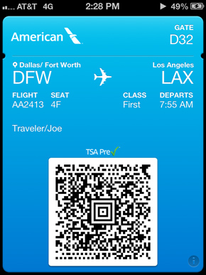 Mobile Boarding Pass within the American App