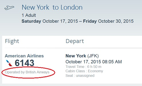 codeshare travel information american airlines