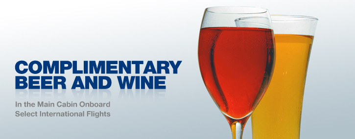 Free Beer And Wine on Select International Flights