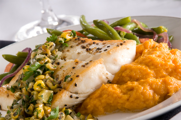 Halibut with Truffle Corn Salsa
