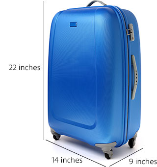 Carry-on baggage allowance is 22 inches high by 14 inches long by 9 inches wide