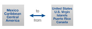 MEXICO, THE CARIBBEAN AND CENTRAL AMERICA TO/FROM THE UNITED STATES, THE U.S. VIRGIN ISLANDS, PUERTO RICO OR CANADA